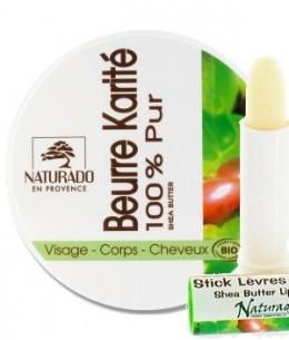 Naturado - Lot de 2 produits : 1 Pot de Beurre de karité de 150 ml + 1 Stick lèvre de 4 gr