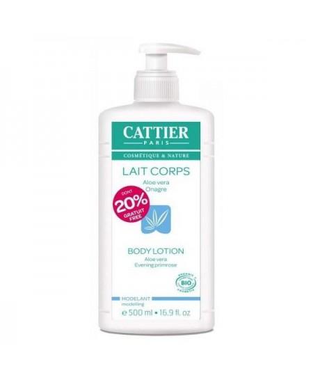 Cattier - Lait Corps modelant Hydratant Aloe Vera et Onagre dont 20 % gratuit - 500 ml