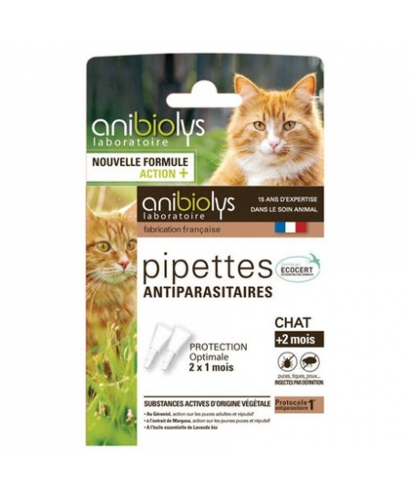 Anibiolys - Pipettes antiparasitaires - 2 x 0,6 ml - Chats + 2 mois
