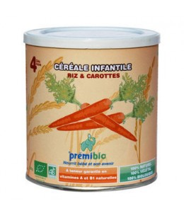Prémibio - Céréales Riz Carotte dès 4 mois - 250 gr