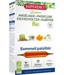 Super Diet - Quatuor Angélique Passiflore Escholtzia Aubépine - 20 ampoules de 15ml
