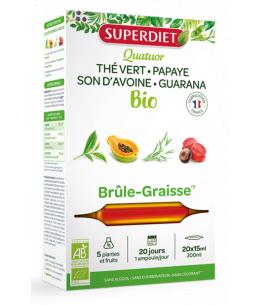 Super Diet - Quatuor brule graisse Guarana Thé vert Papaye Son d'avoine Bio -  20 ampoules de 15 ml