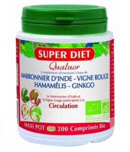 Super Diet - Quatuor Circulation Marronnier Vigne Rouge Hamamélis Ginkgo - 200 comprimés