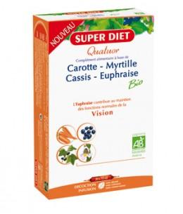 Super Diet - Quatuor Euphraise Carotte Myrtille Cassis Vision Bio - 20 ampoules de 15ml