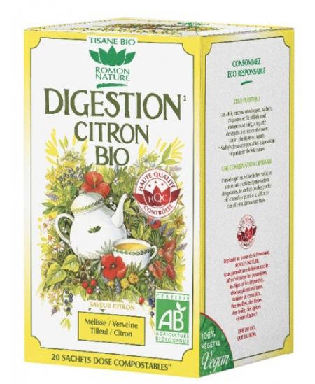 Romon Nature - Tisane Digestion Citron bio Romon - 20 sachets de 32 gr
