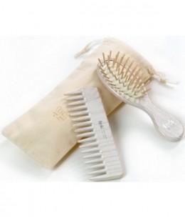 Tek - Set de coiffure Brosse et Peigne Blanc