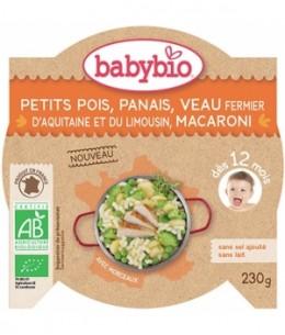Babybio - Assiette Petits Pois Panais Veau et Macaroni dès 12 mois - 230 gr