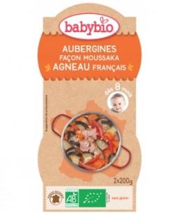Babybio - Bol Menu du jour Aubergines façon Moussaka d'Agneau au parmesan Dès 8 mois 2 x 200 gr