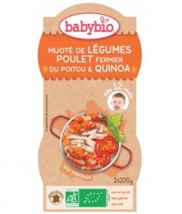 Babybio - Bol Menu du jour Mitonné de légumes au poulet fermier et quinoa dès 12 mois 2 x 200 gr