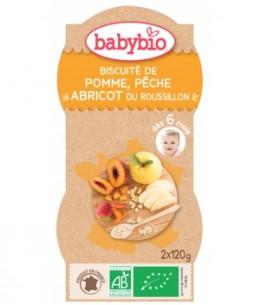 Babybio - Bol Mes Biscuités Pomme Pêche Abricot dès 6 mois - 2 x 120 gr