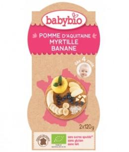 Babybio - Bol Mes Fruits pomme Myrtille Banane dès 4 mois - 2 x 120 gr