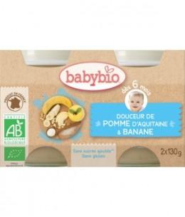 Babybio - Douceur de Pomme d'Aquitaine et Banane dès 6 mois -2x130 gr