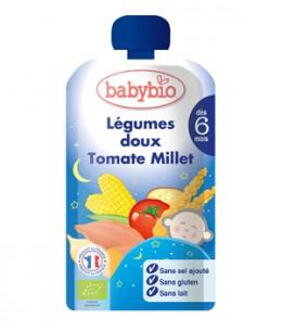 Babybio - Gourde Menu Bonne Nuit Légumes doux Tomate Millet dès 6 mois - 120 gr