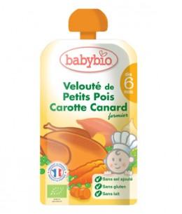 Babybio - Gourde Menu du jour Petits pois Carotte Canard dès 6 mois - 120 gr