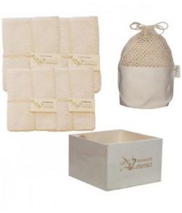 Les Tendances D Emma - Kit Eco Chou Bambou couleur: 10 carrés bébé + 10 gants de change +1 boîte +1 filet