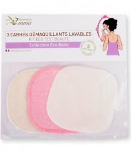Les Tendances D Emma - Lot de 3 carrés démaquillants lavables en Bambou, Eucalyptus et Biface