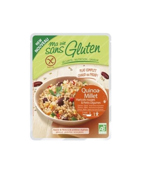 Ma Vie Sans Gluten - Céréales cuisinées Quinoa Millet, Haricots Rouges et légumes - 220 gr