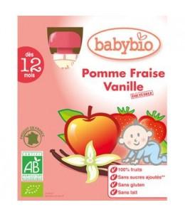 Babybio - Gourdes Pomme Fraise Vanille dès 12 mois - 4 gourdes de 90 gr