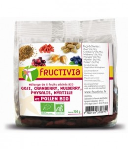 Fructivia  - Mélange 5 Fruits et Pollen Goji Cranberries Mulberries Physalis Myrtilles - 200 gr