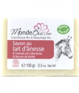 Le Monde du Bio -Savon au lait d'ânesse bio et extrait de Calendula - 100 gr