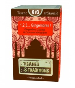 Tisanes Et Traditions - 1, 2, 3 Gingembres ! Boîte en bois (Gingembre Galanga Curcuma) 30 sachets