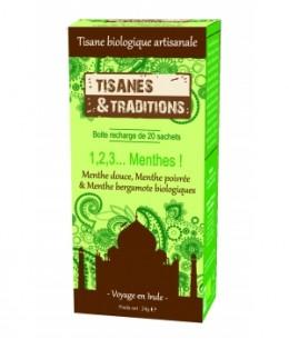 Tisanes Et Traditions - 1,2,3 Menthes ! Recharge (Menthe Douce, Poivrée, Bergamote) 20 sachets
