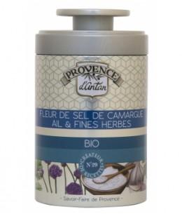 Provence d'Antan - Fleur de Sel de Camargue Ail et Fines herbes bio - Boîte métal 70g
