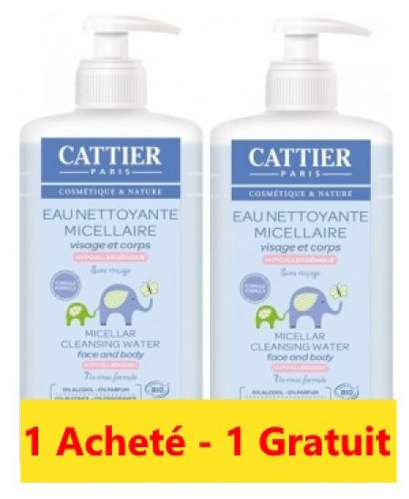 Cattier - Lot de 2 Eaux nettoyantes micellaires Bébé - 2x500 ml