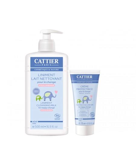 Cattier - Lot de 1 Liniment Lait nettoyant pour le Change + 1 Crème Protectrice