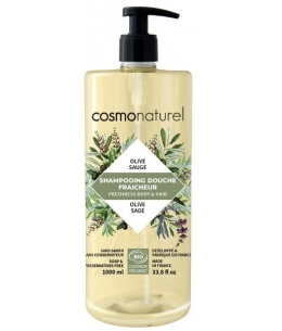 Cosmo Naturel - Shampoing douche Olive Sauge - 1L