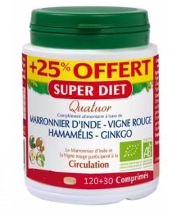 Super Diet - Quatuor Circulation Marronnier Vigne Rouge Hamamélis Ginkgo - 150 comprimés