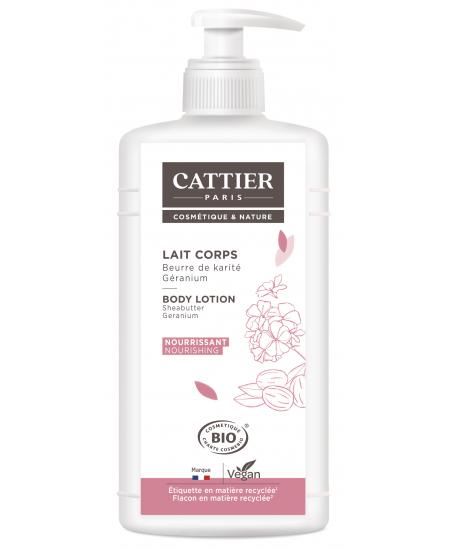 Cattier - Lait corps Beurre de karité et Géranium Nourrissant - 500 ml