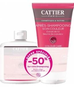 Cattier - Lot Après Shampoing couleur 150ml + Shampoing sans sulfate couleur - 250ml
