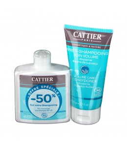 Cattier - Lot Après Shampoing volume 150ml + Shampoing volume sans sulfate 250ml