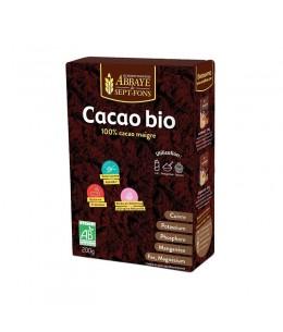Abbaye de Sept Fons - Cacao bio Pur 100% cacao non sucré - 200 g