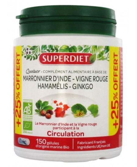 Super Diet - Quatuor Circulation Marronnier Vigne Rouge Hamamélis Ginkgo - 150 gélules