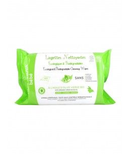 Alphanova - 60 Lingettes nettoyantes à l'huile d'olive vierge bio