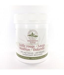 Herboristerie de Paris - Trèfle rouge Sauge Houblon Dolomite - 200 Gélules
