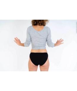 Bertyne - Culotte Menstruelle Noire Lavable en Coton bio