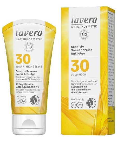 Crème Solaire Anti-Âge Sensitive SPF 30 - 50 ml - Lavera protection solaire Espritphyto