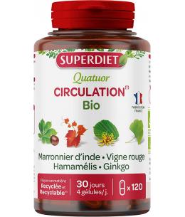 Super Diet - Quatuor Circulation Marronnier Vigne Rouge Hamamélis Ginkgo - 120 gélules