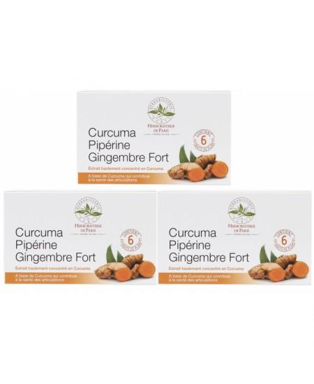 Curcuma pipérine gingembre fort  3 boites de 60 comprimés