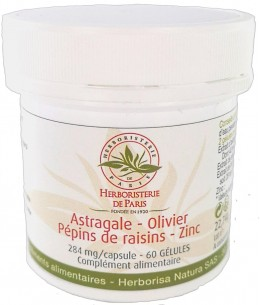 Herboristerie de Paris - Astragale Olivier Pépins de raisins Zinc - 60 gélules
