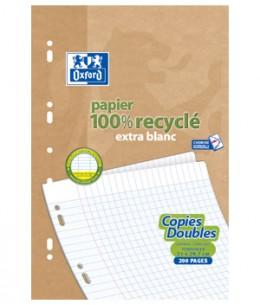 Ecoburo - 50 Copies doubles recyclées 21 x 29.7cm Oxford grands carreaux perforées A4 90g x50