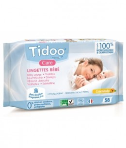 Tidoo - 58 Lingettes compostables au Calendula Sans Parfum x58