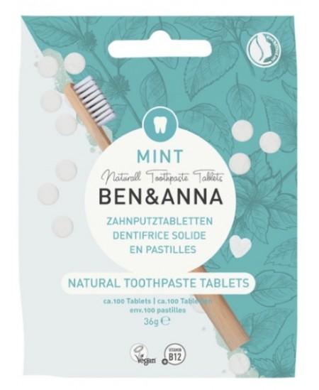 Ben & Anna Dentifrice solide goût menthe 100 pastilles 36gr écologique Espritphyto