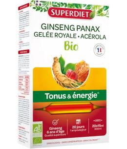 Ginseng Gelée Royale Acérola bio 20 ampoules de 15ml Super Diet Tonus anti-stress Espritphyto