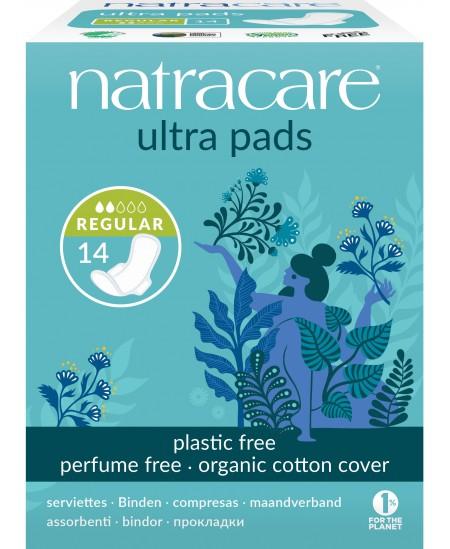 NatraCare - 14 Serviettes Hygiéniques Bio Ultra à Ailettes - Normal