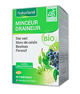 Minceur Draineur - Comprimés Bio - Naturland The vert Marc de raisin Bouleau Queue de cerise Bio Espritphyto