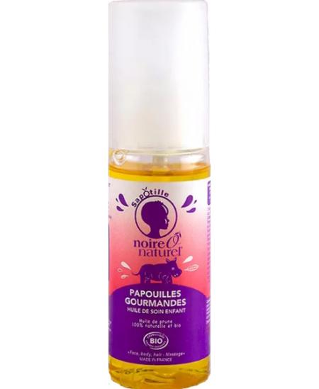 Noire O Naturel - Huile de soin Enfant Corps Cheveux Massage Papouilles Gourmandes - 50 ml